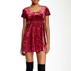 American Apparel Maroon Crushed Velvet Dress
